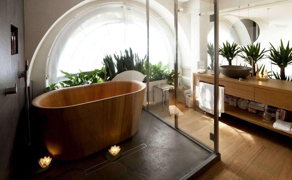 Bagno con vasca di design in legno bambù chiusa in cabina