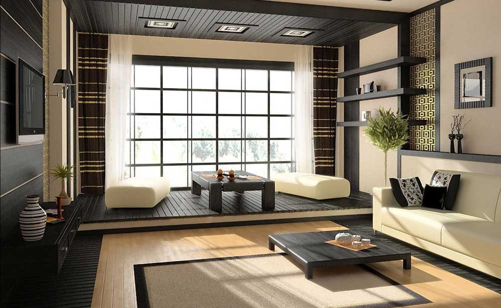 Salotto con divano e pouff colore crema, pavimenti e rivestimenti in legno scuro
