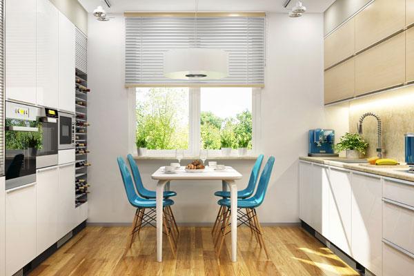 cucina mobili bianchi, elettrodomestici acciaio, cantina vini a vista