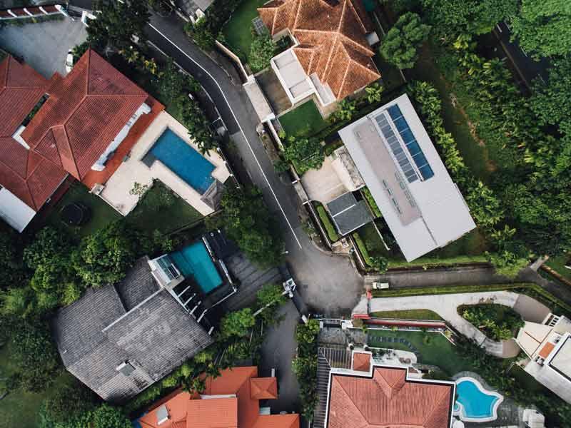 Vista dall'alto di un quartiere composto da più villette