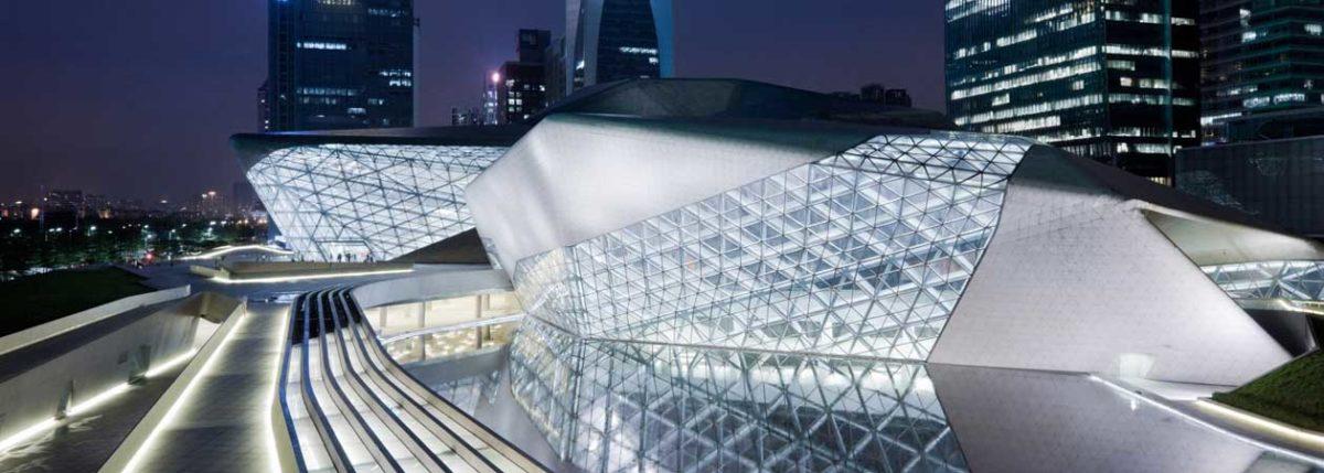 Vista dall'alto della Opera House di Guangzhou progettata dall'architetto Zaha Hadid