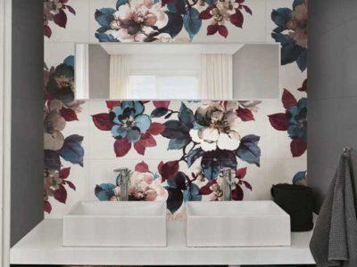 Marazzi rivestimenti, rivestimento del bagno con fantasia floreale