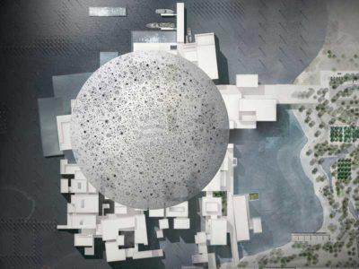 Vista dall'alto del Louvre di Abu Dhabi progettato da Jean Nouvel