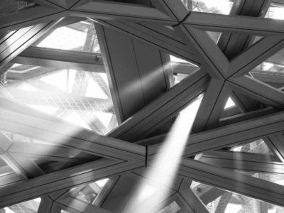 Dettaglio del soffito del museo universale, detto Louvre di Abu Dhabi