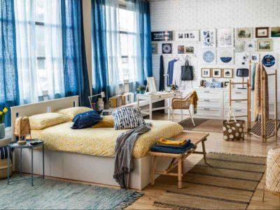Vista di una camera da letto moderna di IKEA