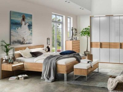 Vista di una camera da letto i stile moderno della collezione Palermo di Wiemann