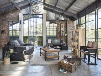 Vista dall'alto di un soggiorno in stile industrile della collezione di maison du monde