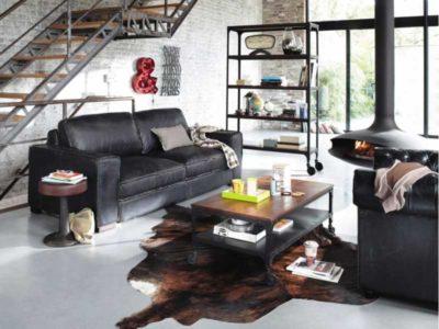 Foto di un soggiorno arredato in stile industriale