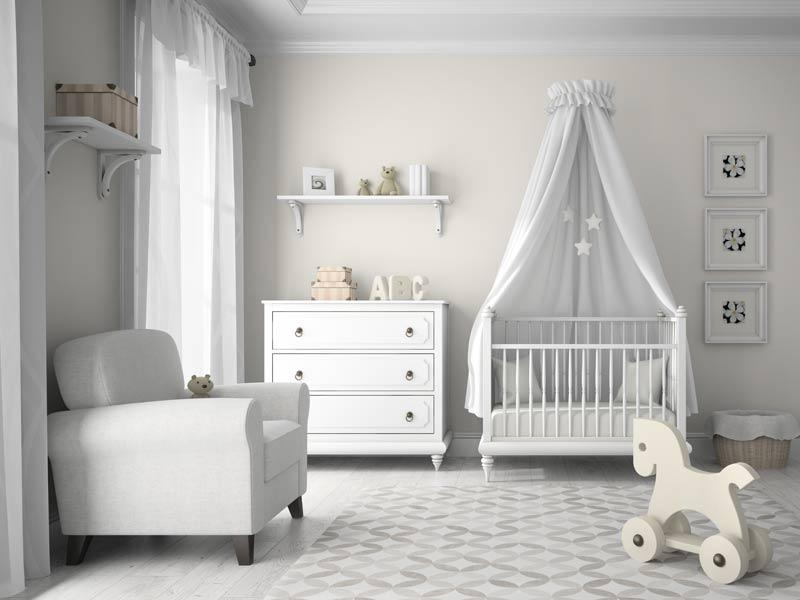Cameretta da neonato con culletta e cassettiera stile shabby
