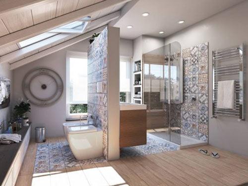 Vista di un bagno arredato in stile moderno con piastrelle colorate e sanitari di design filomuro