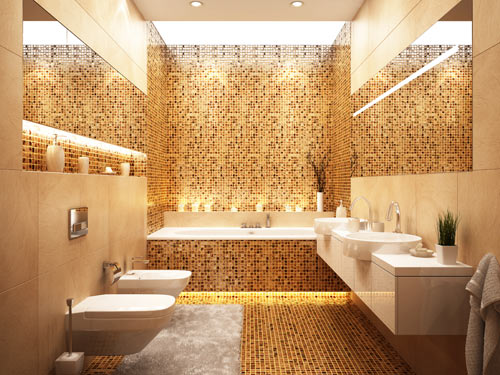 Vista di un bagno in stile moderno con sanitari sospesi, lavabo di design e grande vasca