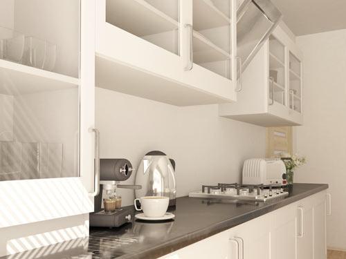 Dettaglio dei mobili di una cucina lineare in stile classico