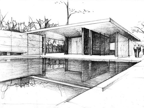 bozza del progetto del padiglione di Barcelona di Ludwig Mies Van der Rohe