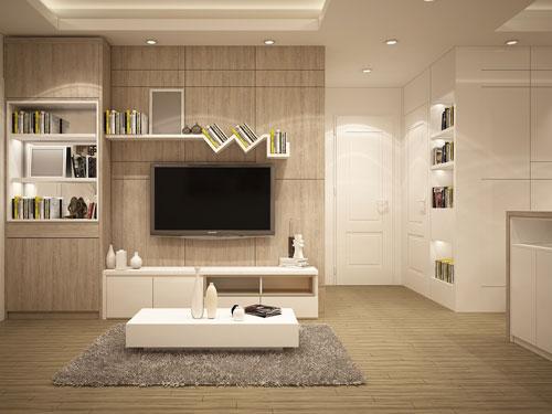 Vistadi un salone in stile moderno dai colori terra, con parete attrezzata e tavolino bianchi