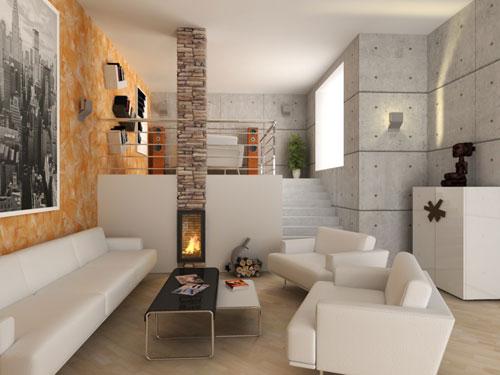 Vista di un salone arredato in stile moderno con divani in eco pelle bianca e termo camino con pilastro di mattoni a centro camera