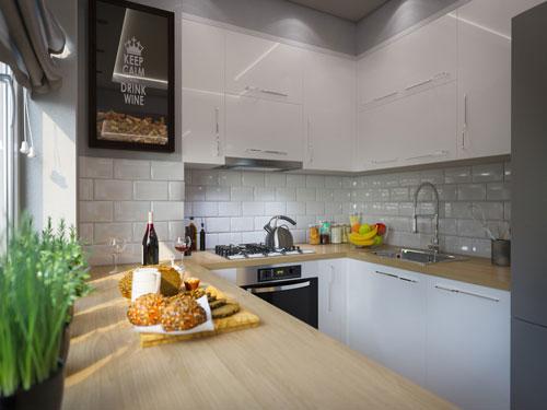 Cucina piccola e stretta ad U