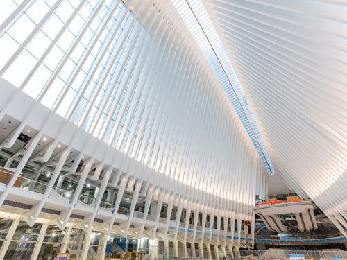 Vista delle vetrate del World Trade Center Transportation Hub - PATH