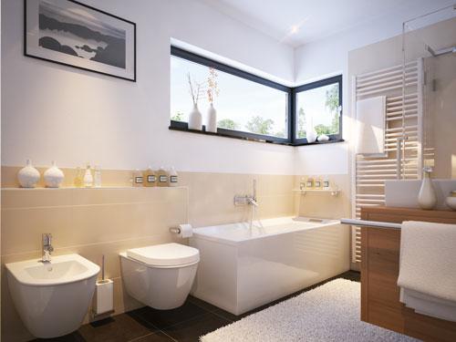 Bagno in stile moderno con sanitari sospesi vasca filomuro e grande doccia