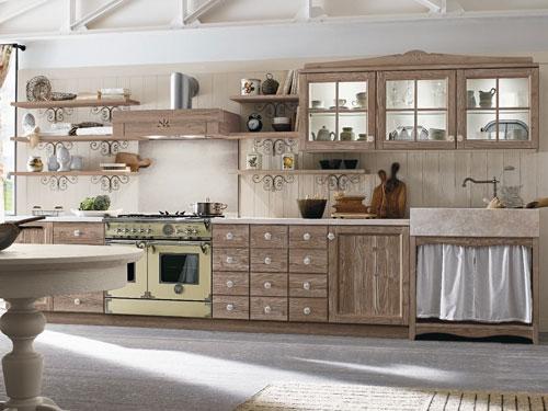 Cucina in stile Country dai colori legno molto chiari e tenui