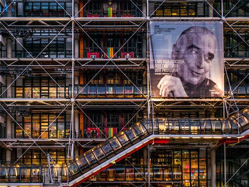 Vista di dettagli del Centre Pompidou di Parigi