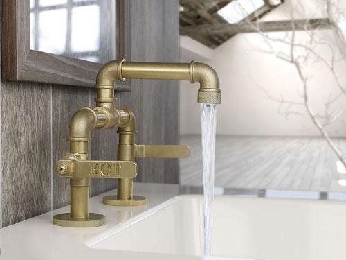 Rubinetto da bagno in rame in stile industriale