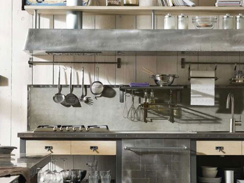 Dettagli dell'arredamento di una cucina in stile industriale