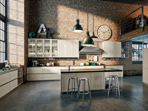 Cucina stile industriale con isola