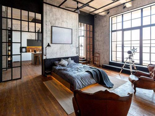 Camera da letto in stile industrial chic