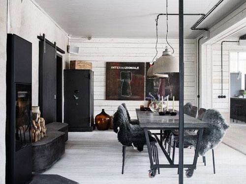 Sala da pranzo in stile industrial chic